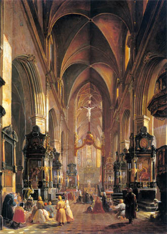 Aleksander Grygielski  Wnętrze kościoła Maryi Panny w Krakowie (1858).