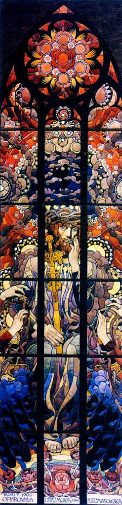 Józef Mehoffer, Chrystus Frasobliwy, projekt witraża do katedry na Wawelu, 1909.