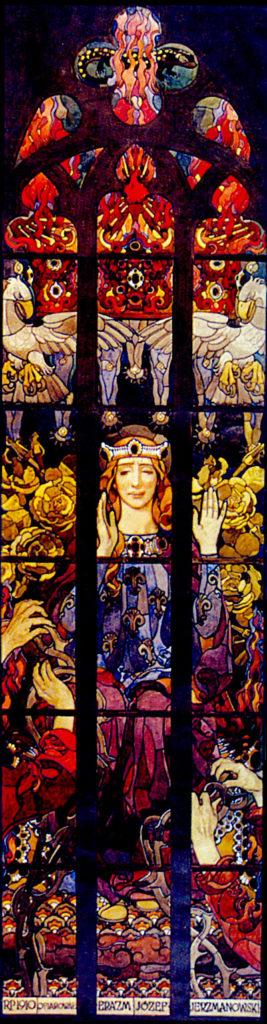 Józef Mehoffer, Sancta Virgo, projekt witraża do katedry na Wawelu, 1909.