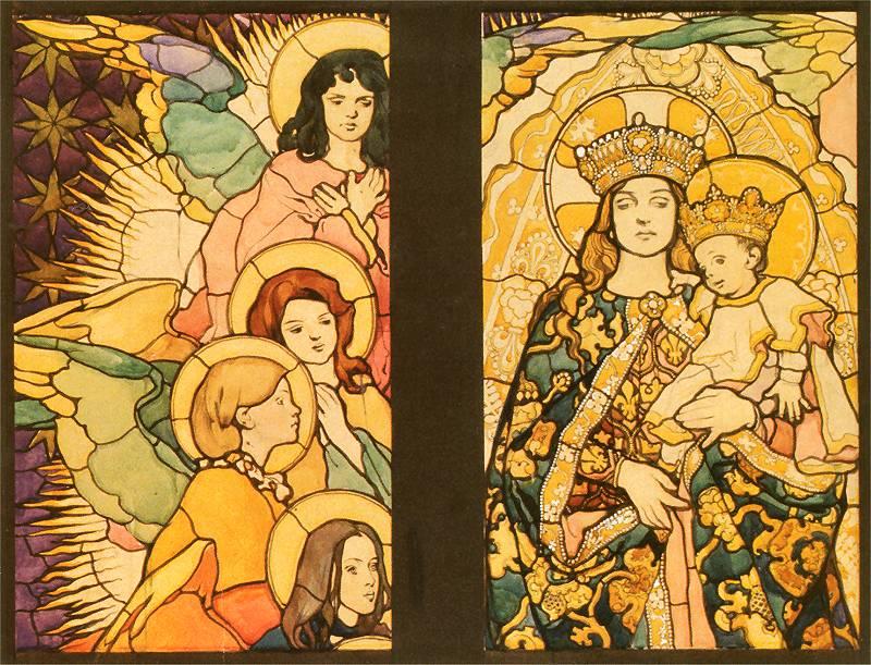 Józef Mehoffer, Madonna w otoczeniu aniołów, fragment kartonu do witraża Matka Boska Zwycięska do okna lewego, 1897.
