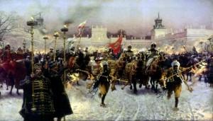Józef Brandt, Wyjazd z Wilanowa Jana III Sobieskiego z Marysieńką, 1897.