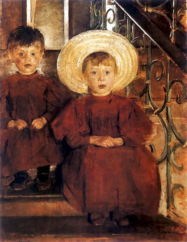 Olga Boznańska - Dzieci na schodach