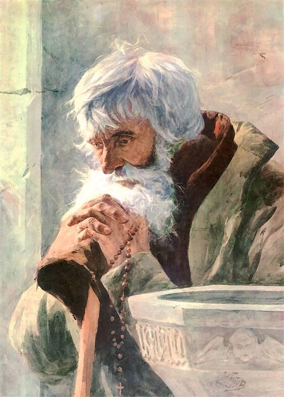 Julian Fałat - Modlący się starzec