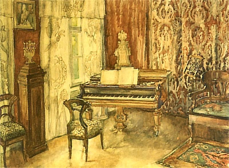 Józef Mehoffer - Wnętrze salonu na Krupniczej