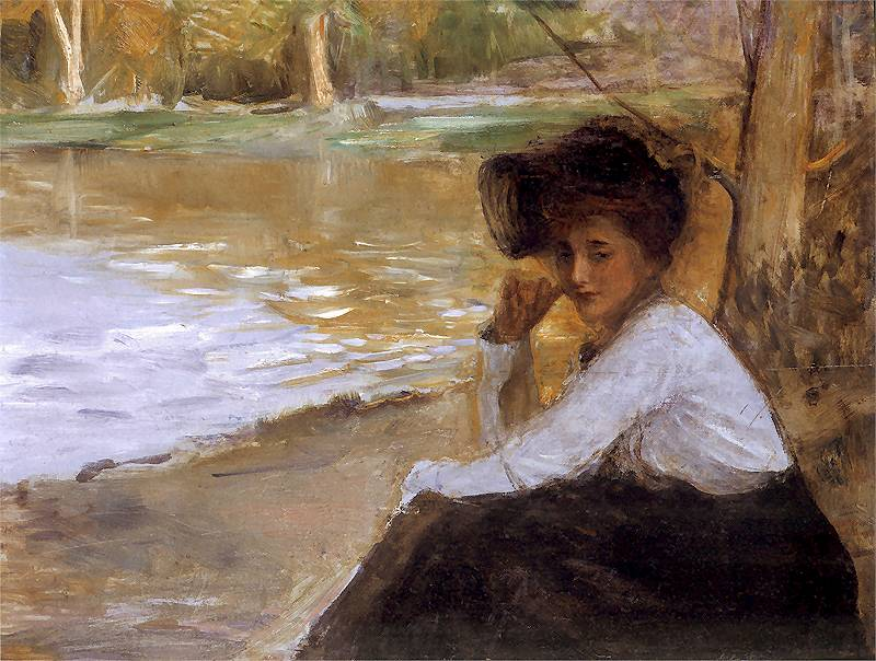 Teodor Axentowicz - Dama w parku