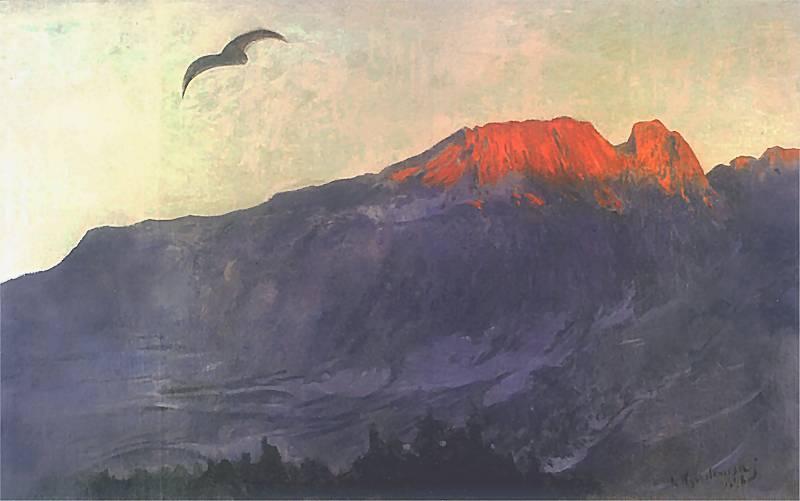 Leon Wyczółkowski - Giewont o zachodzie słońca