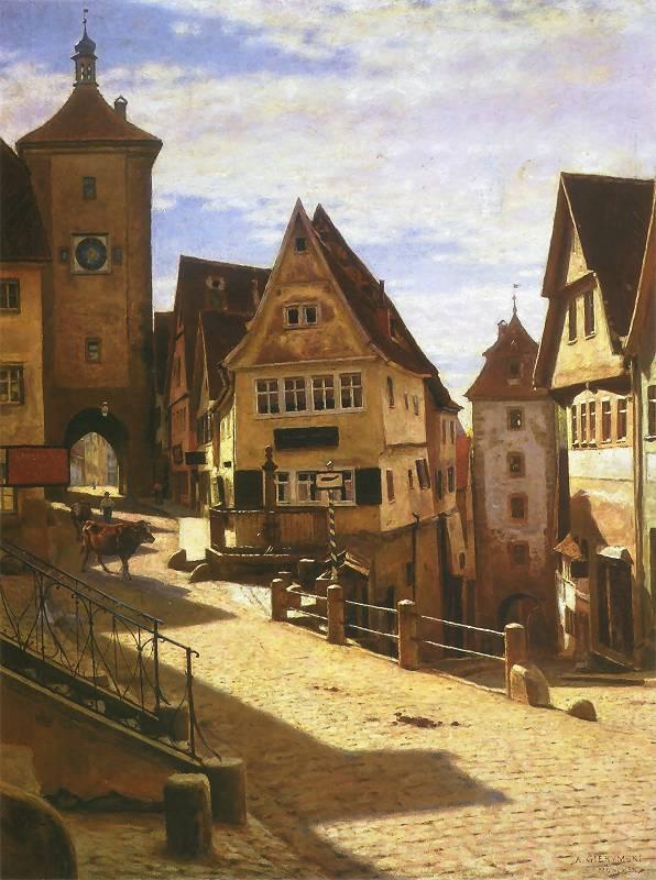 Aleksander Gierymski - Zaułek Am Ploenlein w Rothenburgu