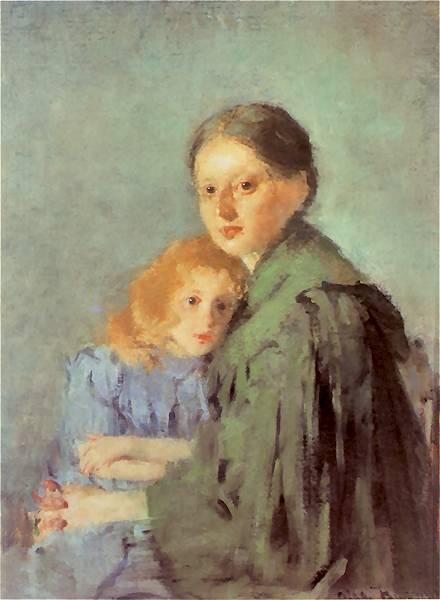 Olga Boznańska - Studium kobiety z dziewczynką