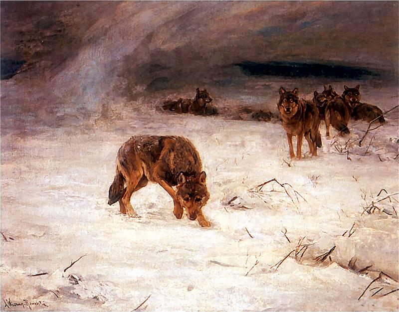 Alfred Wierusz Kowalski - Wilki podczas zamieci