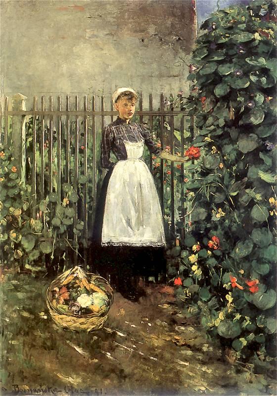 Olga Boznańska - Dziewczynka z koszem jarzyn w ogrodzie