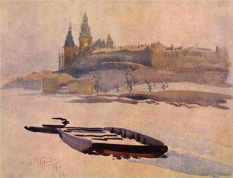 Leon Wyczółkowski - Widok na Wawel od strony Wisły