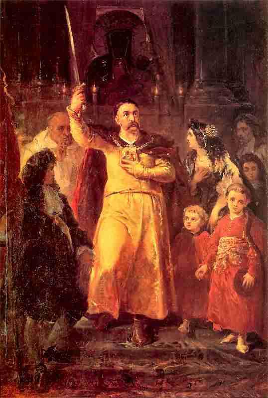 Jan Matejko - Jan III Sobieski z dziećmi na Jasnej Górze