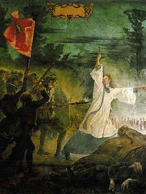 Jan Henryk Rozen - Cud nad Wisłą (fragment środkowy fresku z kaplicy papieskiej w Castel Gandolgfo)