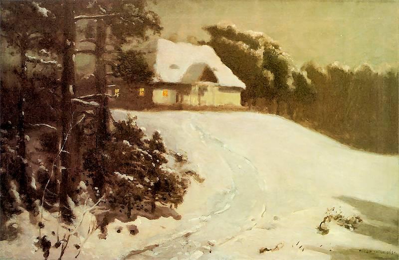 Józef Chełmoński - Dworek w zimie