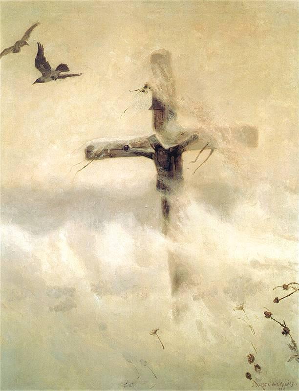 Józef Chełmoński - Krzyż w zadymce