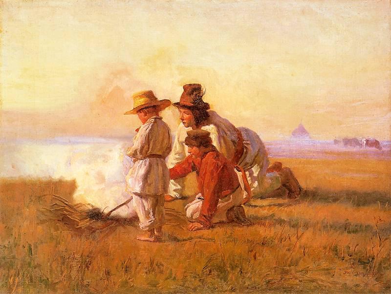 Józef Chełmoński - Pastuszkowie przy ogniu