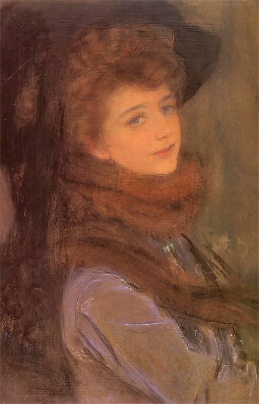 Teodor Axentowicz - Portret damy w futrze