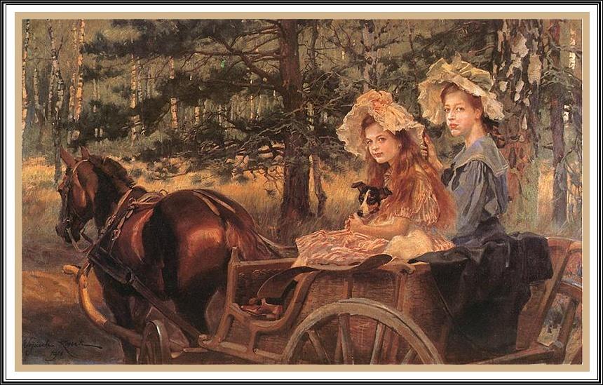 Wojciech Kossak  -  Maria i Magdalena (córki malarza)