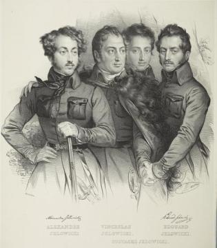 Aleksander Jełowicki (pierwszy z lewej) z braćmi: Edwardem, Wacławem i Eustachym