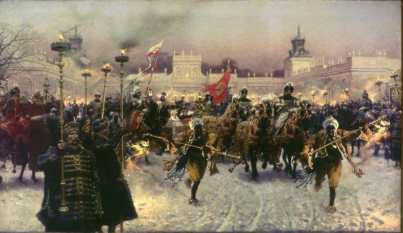 Józef Brandt - Wyjazd Jana III Sobieskiego z Marysieńką z Wilanowa