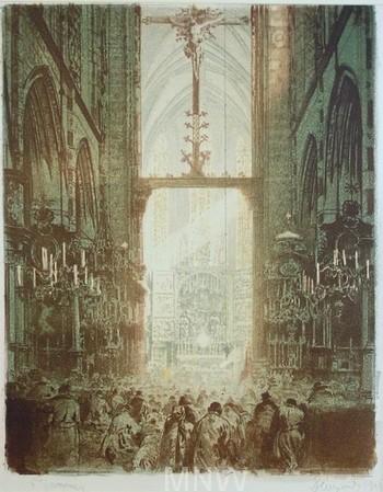 Leon Wyczólkowski - Wnętrze kościiła z obrazem Wita Stwosza
