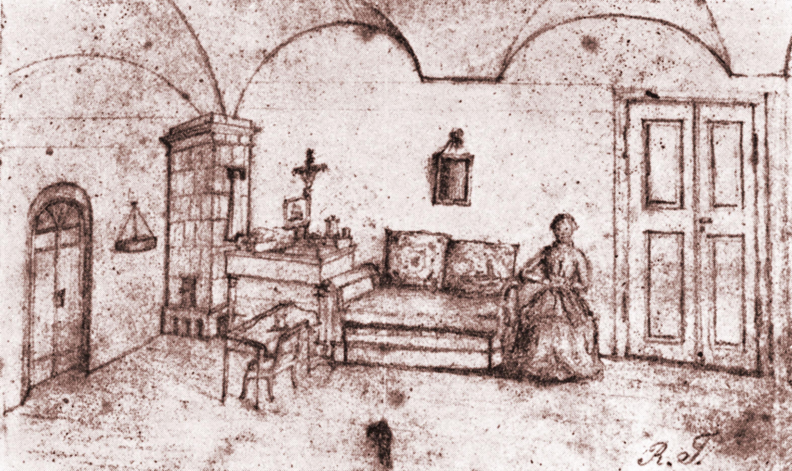 Wnętrze mieszkania Trauguttów w twierdzy dęblińskiej(zwanej iwanogrodzką) - rysunek Romualda Traugutta
