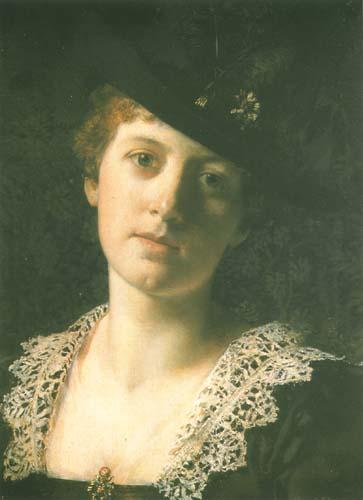 Władysław Czachórski - Portret kobiety w czarnym kapeluszu