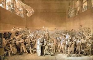 Jacques - Luis David - Przysięga w sali do gry w piłkę (Deputowani stanu trzeciego głosują za nową konstytucją; w rogu po prawej Martin-oponent)