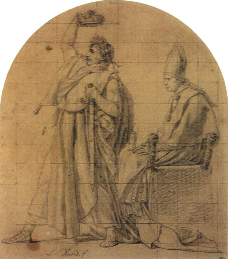 Jacques - Louis David -  Napoleon koronuje sam siebie (Szkic do obrazu Koronacja Napoleona, nie wykorzystany przez malarza)