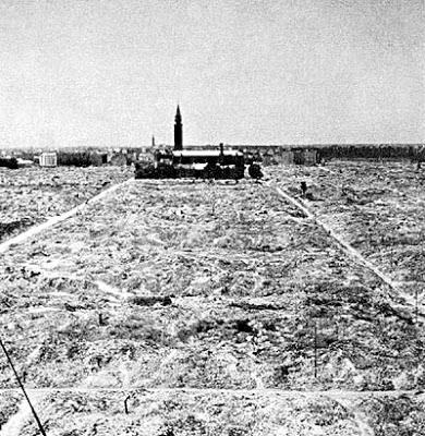 Widok na getto warszawskie i sylwetkę kościoła św. Augustyna