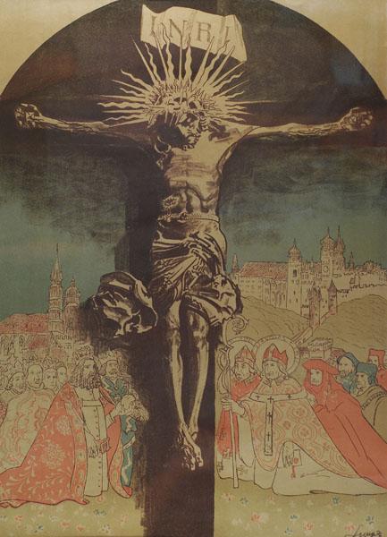 Leon Wyczółkowski - Chrystus na krzyżu w adoracji swietych i krółow polskich (1915)