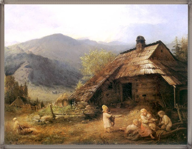 Aleksander Kotsis - Dzieci przed chatą