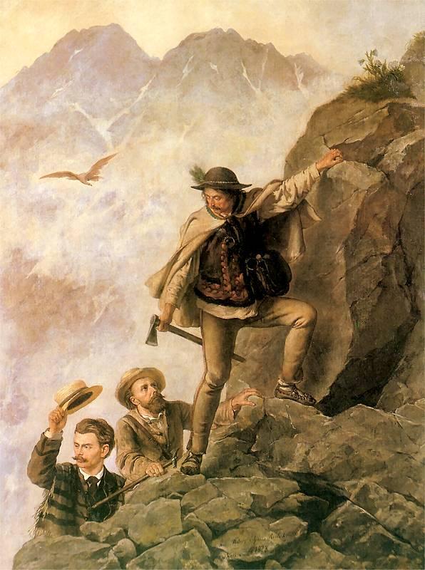 Walery Eliasz Radzikowski - Przewodnik i turyści w Tatrach