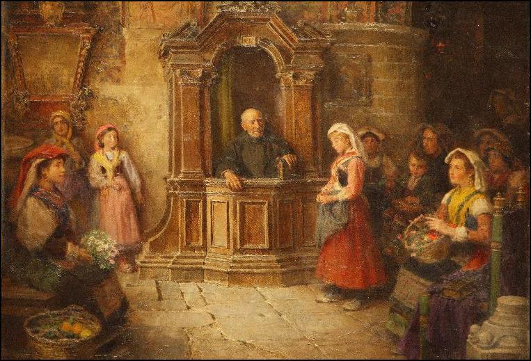 Jose Benlliure - Spowiedź w święto Matki Boskiej Zielnej
