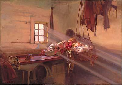 Józef Chełmoński - Wnętrze chaty na Polesiu