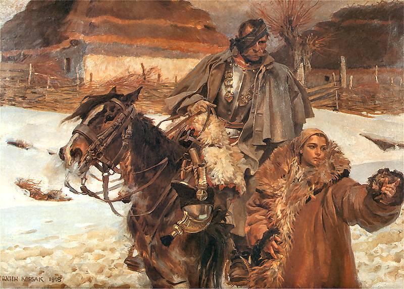 Wojciech Kossak - Ranny Kirasjer i dziewczyna
