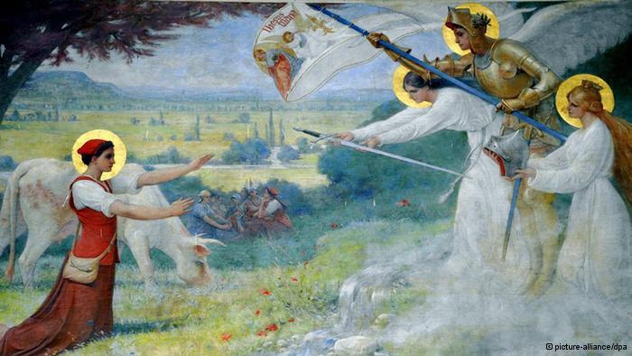 Joanna d`Arc dowiaduje się o swojej misji - fresk w katedrze w Domremy