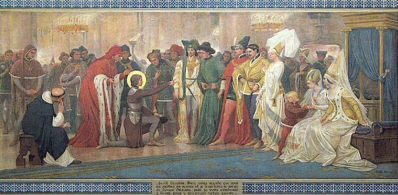 Joanna d`Arc rozpoczyna swoją misję wyzwalania Francji - fresk w katedrze w Domremy