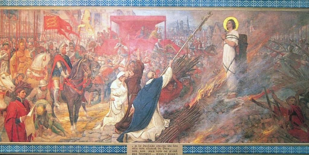 Śmierć Joanny d`Arc na stosie - fresk w katedrze w Domremy