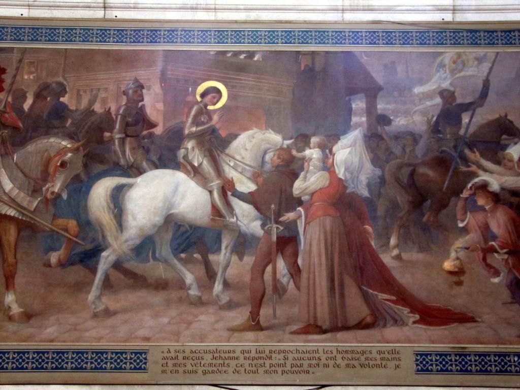Joanna d`Arc po wyzwoleniu jednego z miast francuskich - fresk w katedrze w Domremy