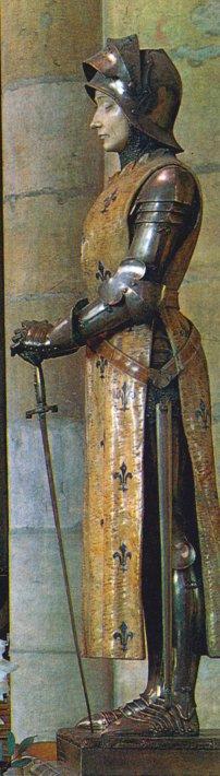 Statua Joanny d`Arc w katedrze w Reims