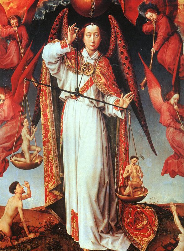 Rogier van der Weyden - Św. Michał Archanioł (fragment Sądu Ostatecznego)