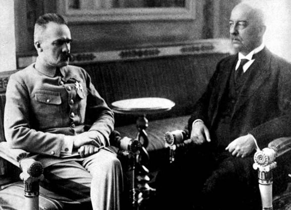 Józef Piłsudski i Gabriel Narutowicz, zdjęcie z 1922 roku zrobione na krótko przed zamachem