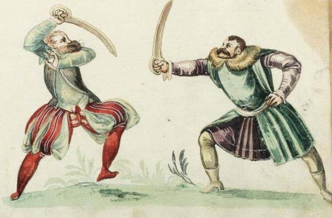 Ilustracja z XVI- wiecznego traktatu o szermierce Joachima Meyera (za portalem Onet)