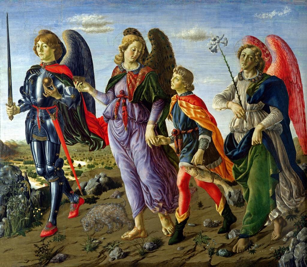 Francesco Botticini - Święci Archaniołowie Michał, Rafael prowadzący młodego Tobiasza i Gabriel
