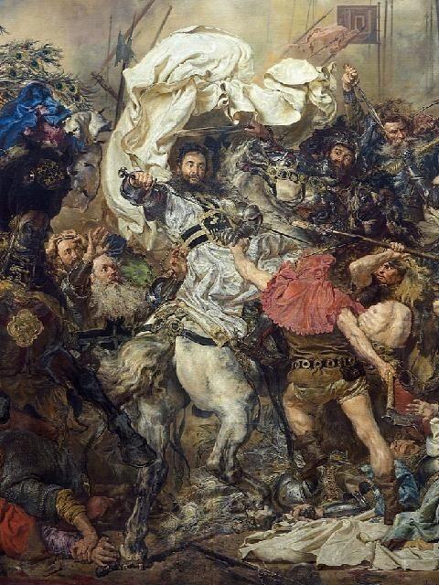 Jan Matejko - Śmierć Wielkiego Mistrza, Ulryka von Jungingen, Bitwa pod Grunwaldem (fragm.)