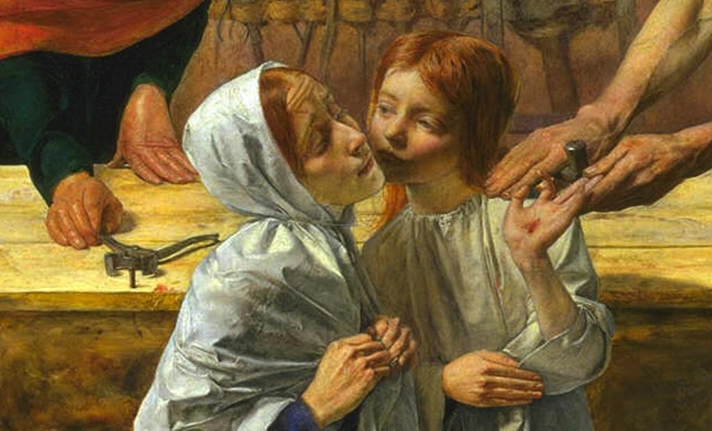 John Everret Millais -Jezus w domu rodzinnym (fragment)