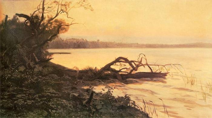 Józef Chełmoński - Jezioro Świteź, Zachód słońca