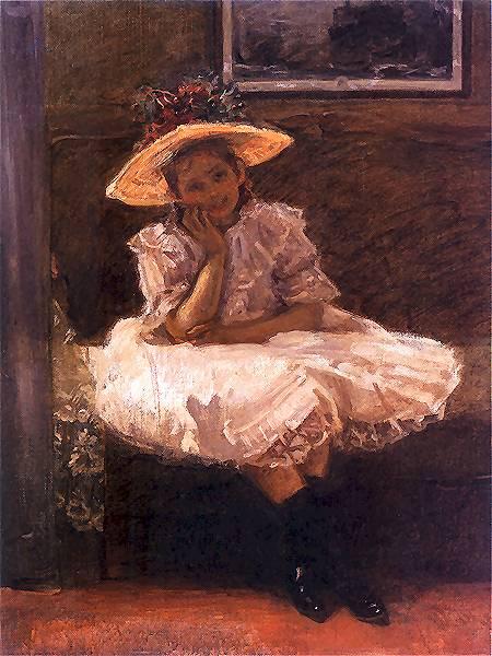 Władysław Podkowiński - Dziewczynka w kapeluszu