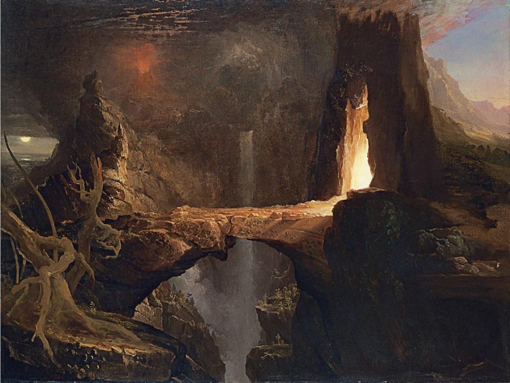 Thomas Cole - Wygnanie. Księzyc i blask ognia.